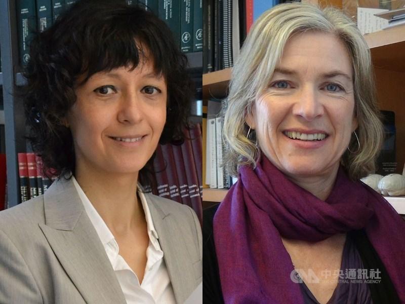 2020年諾貝爾化學獎由夏彭提耶(左)和道納(右)獲獎,兩位都曾是唐獎得主。(中央社檔案照片)