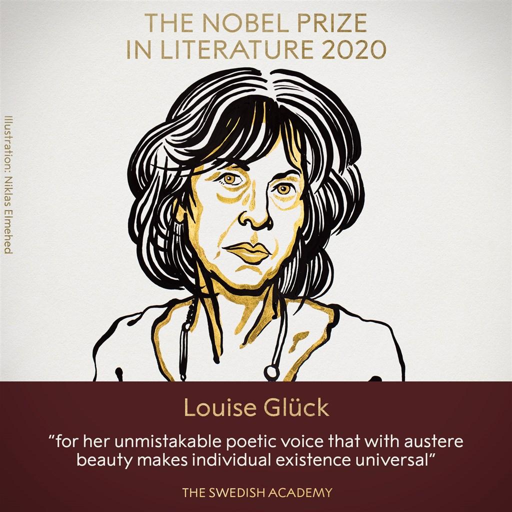2020年諾貝爾文學獎得主8日揭曉,由美國女詩人葛綠珂獲得殊榮。(圖取自twitter.com/nobelprize)