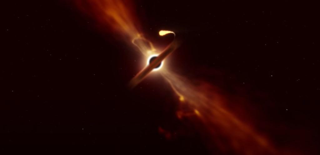 天文學家觀測到超大質量黑洞撕裂和吞噬一個大小如太陽般星體的時刻。(圖取自歐洲南方天文臺YouTube頻道網頁youtube.com)