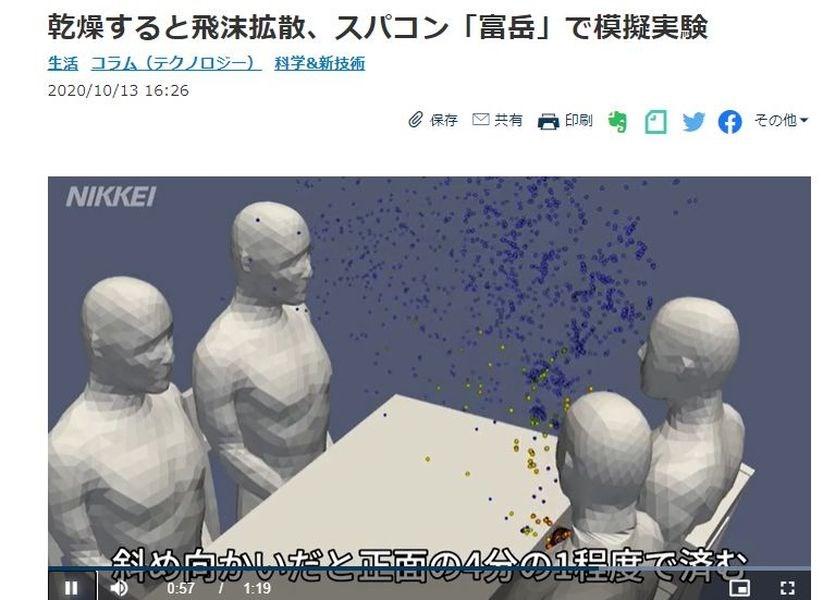 日本媒體報導,日本理化學研究所團隊利用日本新世代超級電腦「富岳」,模擬武漢肺炎防疫對策發現,在餐廳的4人桌用餐時,感染風險最高的位置,不是坐在感染者正對面,而是感染者的旁邊。(圖取自日本經濟新聞網頁nikkei.com)