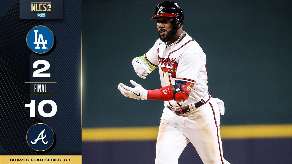 MLB勇士15日棒打道奇王牌左投柯蕭,並靠6局下攻下6分的大局奠定勝基,最終10比2獲勝,在國聯冠軍賽取得3勝1負「聽牌」。其中,歐蘇納(圖)5打數4安打,有4分打點進帳,是勇士贏球一大功臣。(圖取自twitter.com/MLB)