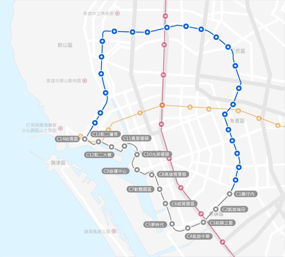 高雄輕軌二階(圖藍線部分)至今延宕一年半致2021年6月完工期程面臨展延壓力。捷運工程局團隊18日對此表示,目前無展延規劃。(圖取自高雄捷運工程局網頁mtbu.kcg.gov.tw)