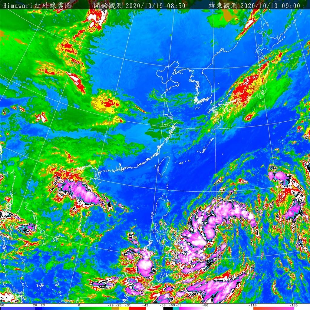 氣象專家吳德榮表示,菲律賓東方海面有熱帶擾動醞釀發展。圖為中央氣象局19日上午9時的衛星雲圖。(圖取自中央氣象局網頁cwb.gov.tw)