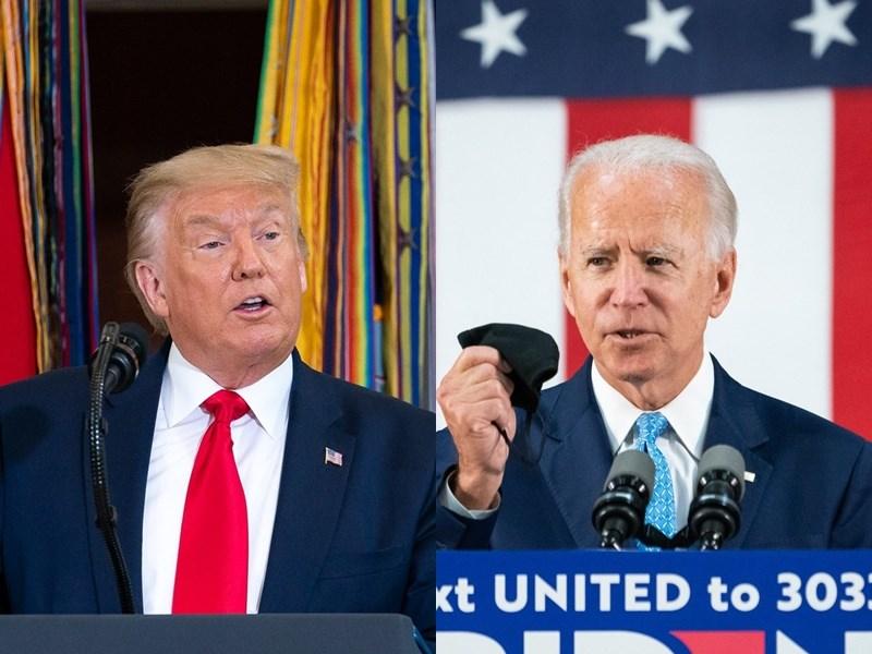 美國總統川普(左)與民主黨總統候選人拜登(右)15日將同時在市民大會轉播打對台,兩人有機會正面交鋒。(左圖取自facebook.com/WhiteHouse、右圖取自facebook.com/joebiden)