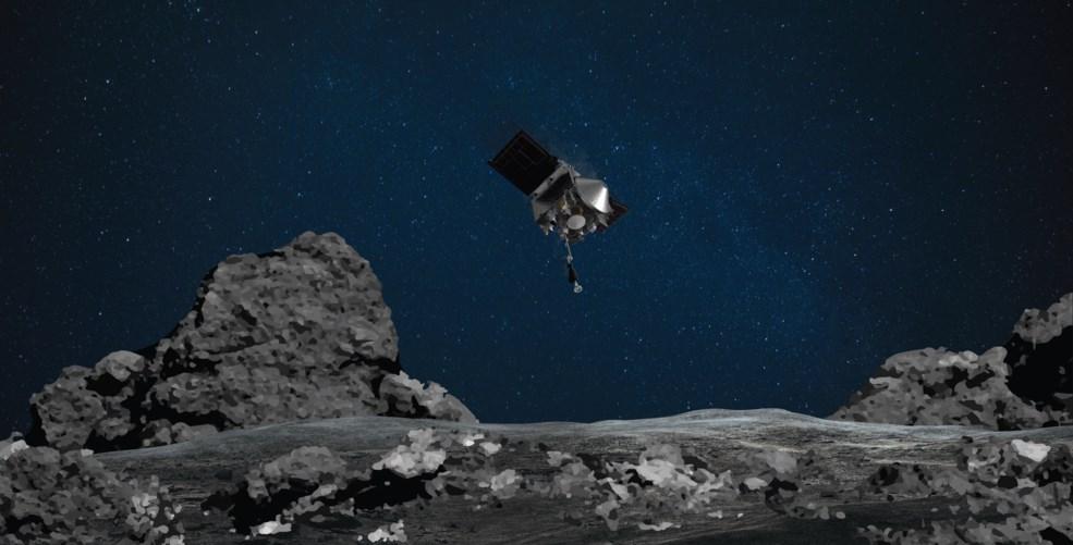 美國國家航空暨太空總署(NASA)「歐塞瑞斯號」(Osiris-Rex)20日將在一顆大型小行星上短暫登陸,採集一些表面上的岩石及灰塵。(圖取自NASA官方網頁nasa.gov)