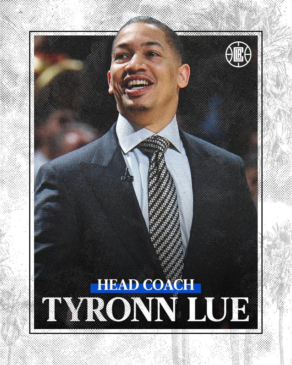 NBA洛杉磯快艇20日正式宣布泰隆.魯接任總教練,但未公布合約細節。(圖取自facebook.com/LAClippers)