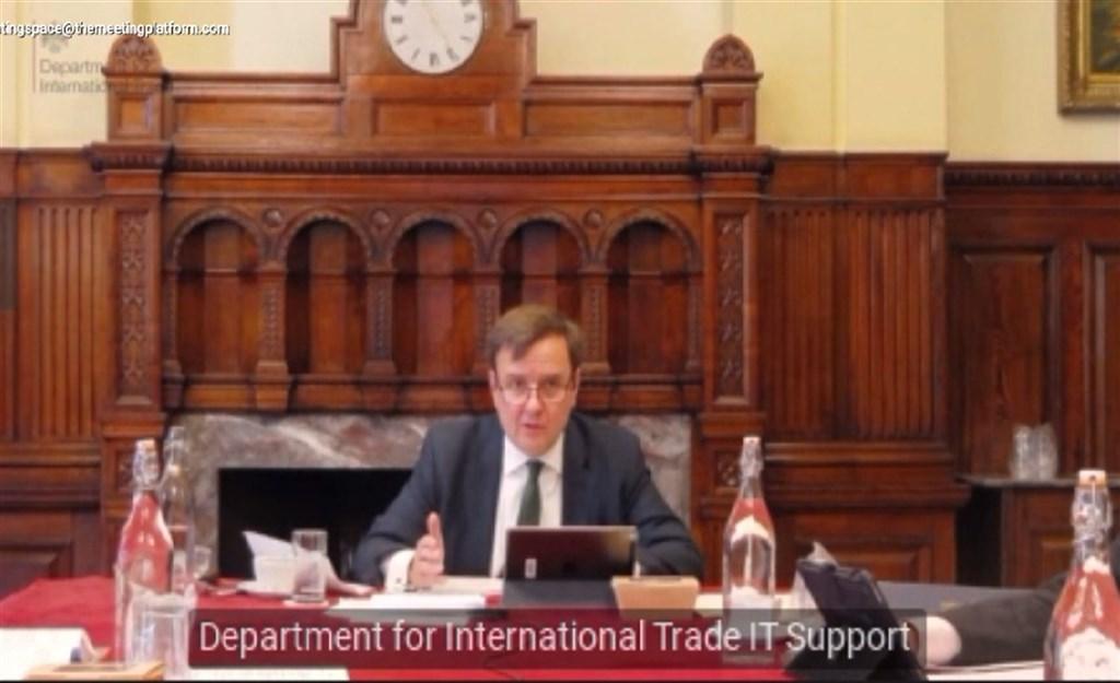 英國在台協會22日表示,英國國際貿易部貿易政策部長韓斯(圖)21至22日在線上訪問台灣,並進一步拓展台英貿易關係。(英國在台協會提供)中央社記者游凱翔傳真 109年10月22日