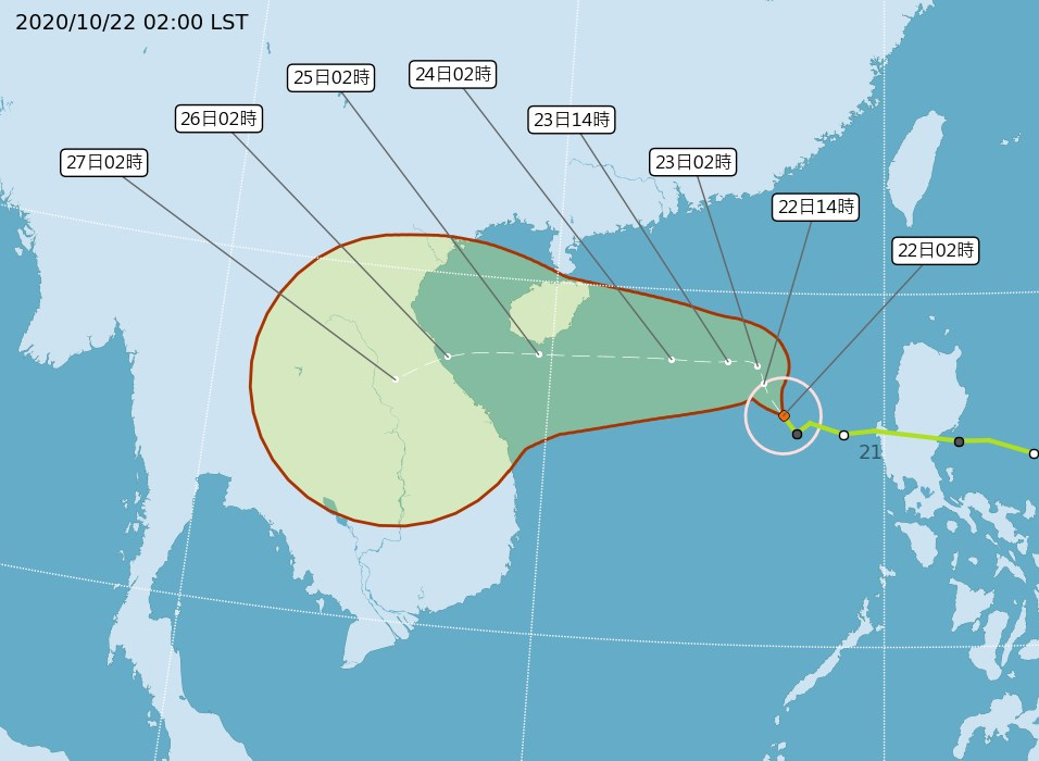 第17號輕度颱風沙德爾22日凌晨2時位於鵝鑾鼻南南西方730公里的海面上,未來有持續增強的趨勢,22、23日兩天將提供水氣輸送至台灣附近。(圖取自中央氣象局網頁cwb.gov.tw)