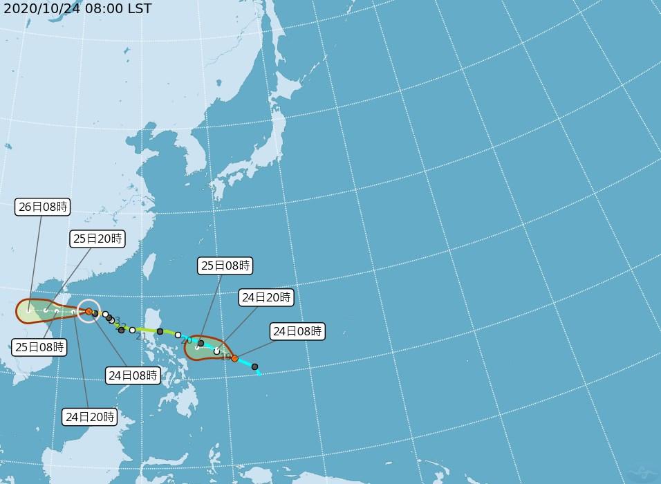 中央氣象局觀測,輕度颱風沙德爾對台灣影響逐漸減小,但菲律賓東方海面有一個熱帶性低氣壓,最快可能24日增強為颱風。(圖取自中央氣象局網頁cwb.gov.tw)