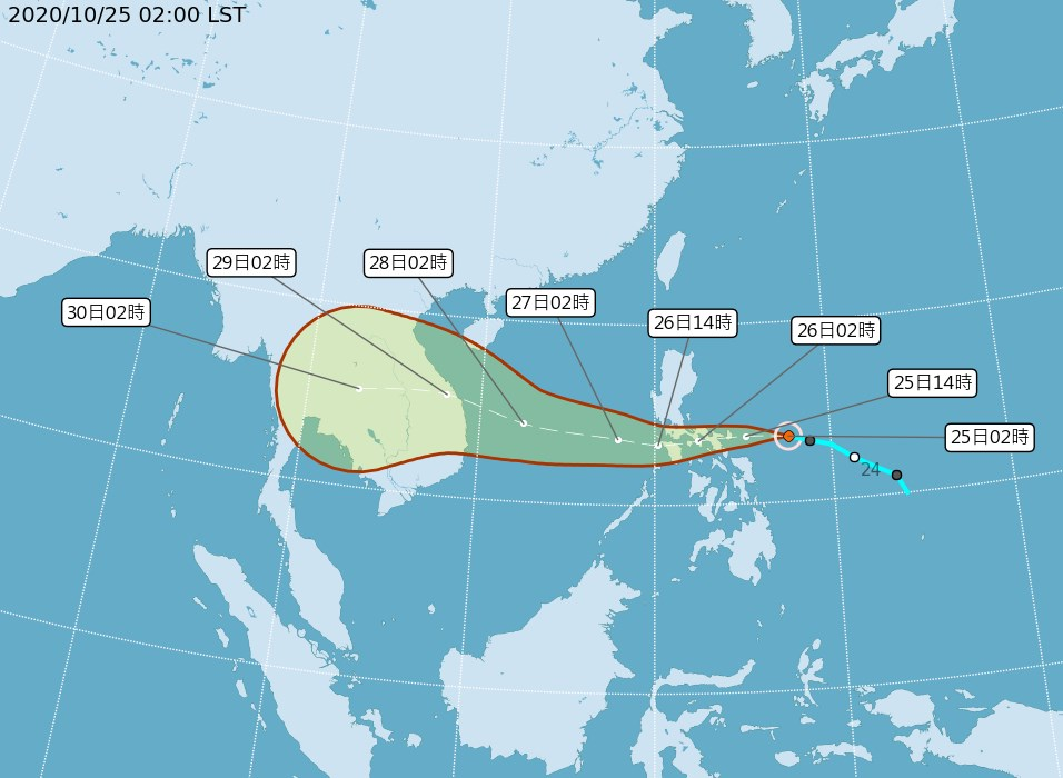 颱風莫拉菲25日凌晨生成,預測朝西移動,通過菲律賓中部進入南海,對台灣無直接影響。(圖取自中央氣象局網頁cwb.gov.tw)