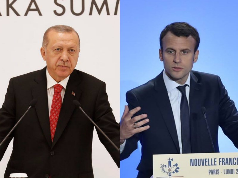 法國歷史教師帕第在課堂上秀出諷刺先知穆罕默德漫畫後遭斬首,法國總統馬克宏(右)對此事的回應被土耳其總統艾爾段(左)譏諷「該去看醫生」。(右圖取自facebook.com/EmmanuelMacron、左圖取自facebook.com/RTErdogan)
