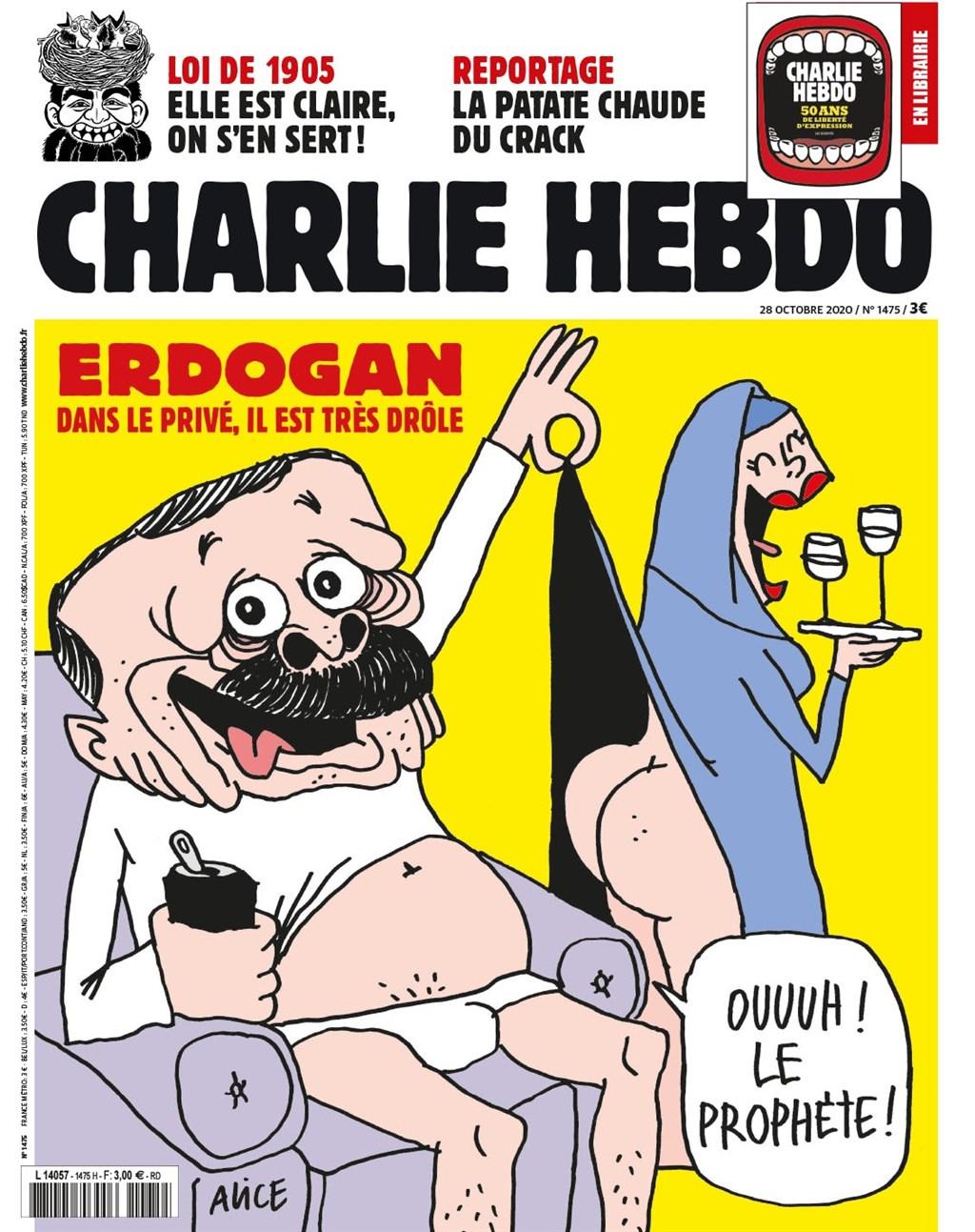 嘲諷刊物「查理週刊」最新一期封面刊登漫畫嘲諷土耳其總統艾爾段,為土耳其和法國緊張的外交關係雪上加霜。(圖取自facebook.com/CharlieHebdoOfficiel)