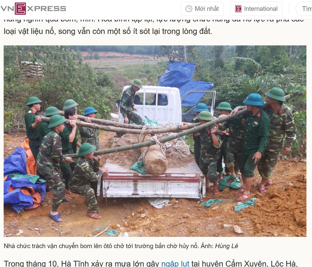 越南快訊報導,河靜省祿河縣在颱風造成的大雨沖刷下,發現一枚越戰時期重達450公斤的炸彈。(圖取自越南快訊網頁vnexpress.net)