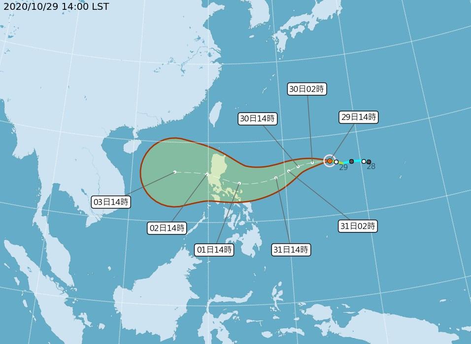 氣象局29日表示,輕颱天鵝持續向西移動,將穿過呂宋島往南海前進,預估對台灣沒直接影響。(圖取自中央氣象局網頁cwb.gov.tw)