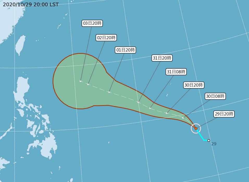 中央氣象局29日晚間發布颱風閃電形成訊息,目前預測朝西北轉西北西移動,接近菲律賓。(圖取自中央氣象局網頁cwb.gov.tw)