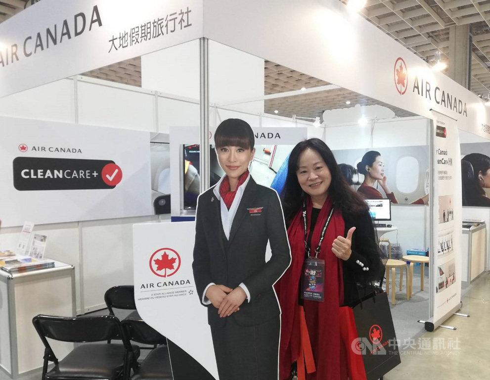 「2020 ITF台北國際旅展」30日在台北南港展覽館一館登場,加拿大航空是唯一參展設攤的航空公司,加航台灣區總經理陳美至表示,目前加航仍預計2021年3月底復飛台灣。中央社記者汪淑芬攝 109年10月30日