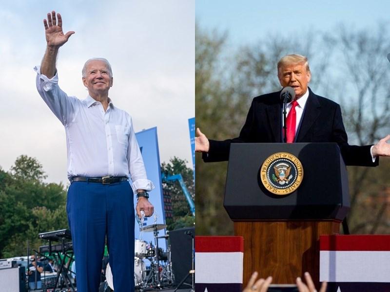 美國總統大選3日登場,現任總統川普(右)在最後48小時橫掃5州出席多場造勢大會,民主黨候選人拜登(左)則在可能成為勝負關鍵的賓州固樁。(左圖取自facebook.com/joebiden、右圖取自facebook.com/DonaldTrump)