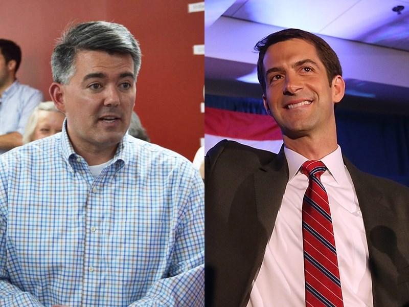 美國聯邦參議院3日改選,共和黨重量級挺台參議員賈德納(左)落選,但另一友台參議員柯頓(右)順利連任。(圖取自facebook.com/Cory.Gardner.For.Senate、facebook.com/TomCottonAR )