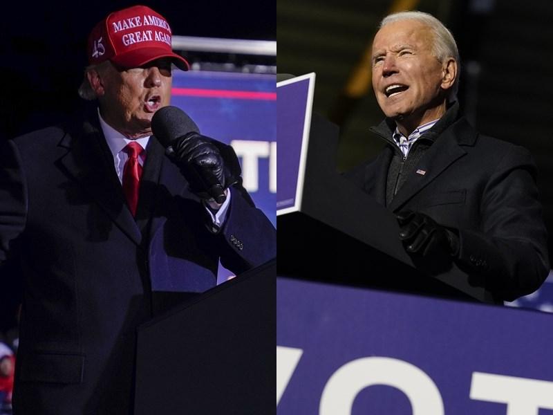 根據美國媒體出口民調預測,拜登(右)選舉人票累計暫時領先川普,川普預料在關鍵佛州勝出,最後結果將由多個搖擺州動向決定。(美聯社)
