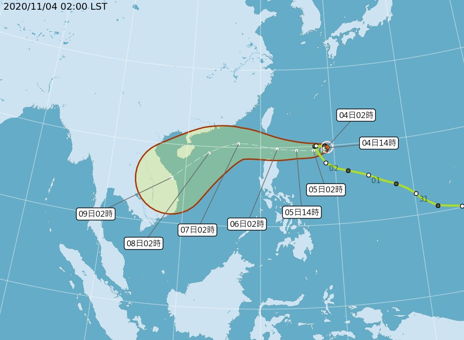 氣象專家吳德榮表示,輕度颱風閃電預計4日向西行進通過巴士海峽,掠過海上颱風警報警戒區邊緣。(圖取自中央氣象局網頁cwb.gov.tw)