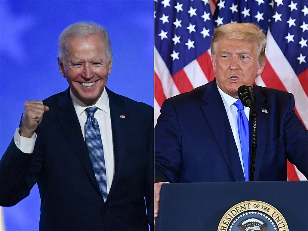 民主黨總統候選人拜登(左)成功跨過當選門檻。總統川普(右)盼用法律戰挽救頹勢,但在多數關鍵州都成拜登囊中物之際,恐難靠訴訟撼動大選結果。(法新社)