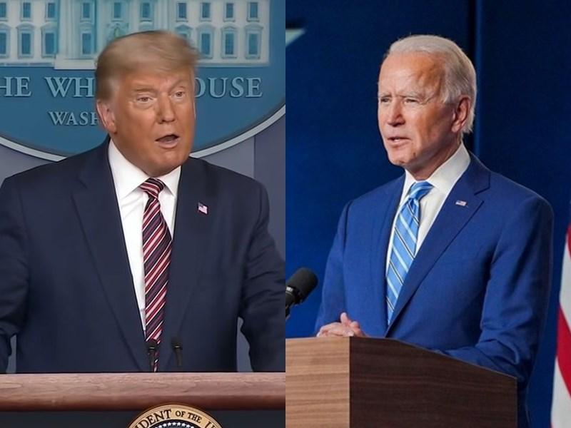 美國總統大選民主黨候選人拜登(右)5日在喬治亞與賓夕法尼亞後來居上,雖然喬治亞將重新計票,但拜登可望跨過270票的當選門檻,爭取連任的川普(左)指控選舉有舞弊現象,表明將訴諸法庭。(左圖取自The White House YouTube頻道網頁youtube.com,右圖取自facebook.com/joebiden)