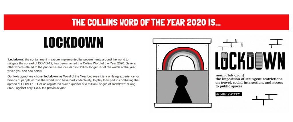 英國柯林斯字典10日公布2020年度代表字,「封鎖」(lockdown)一字雀屏中選。(圖取自collinsdictionary.com)