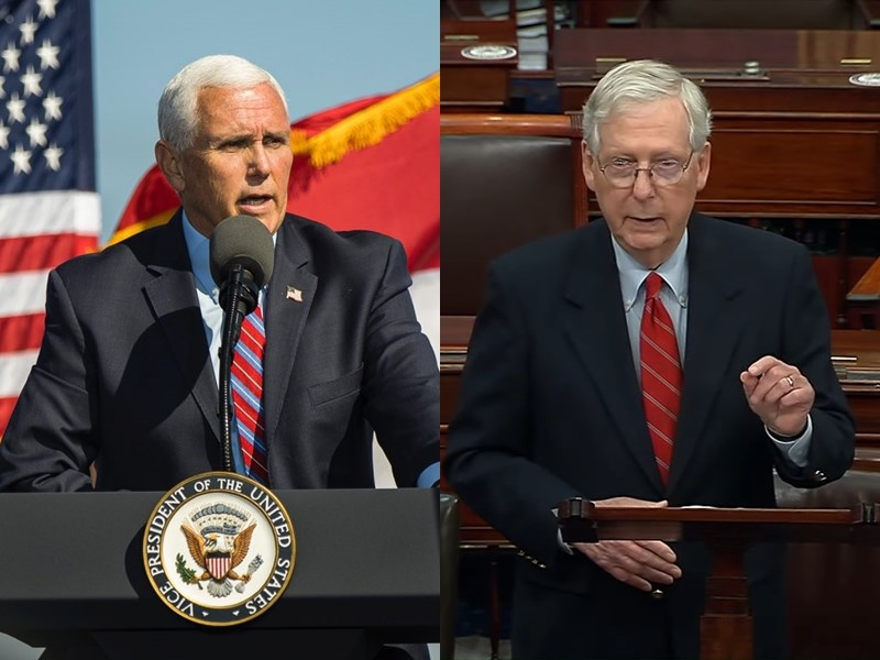美國總統川普持續透過推特抱怨大選不公,沒有打算認輸,9日獲得副總統彭斯(左)與共和黨大老、參議院多數黨領袖麥康奈(右)的力挺。(圖取自twitter.com/Mike_Pence、Senate Majority Leader Mitch McConnell YouTube頻道網頁youtube.com)
