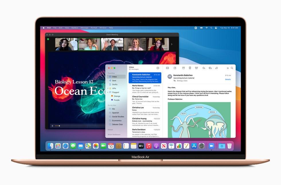 蘋果公司10日發表搭載自家設計處理器M1的Mac系列電腦,圖為MacBook Air。(圖取自蘋果公司網頁apple.com)