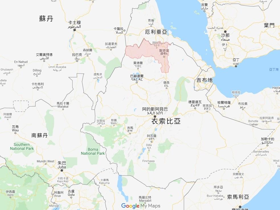 衣索比亞政府軍和北方泰格瑞省(紅色區域)叛軍泰格瑞人民解放陣線的戰鬥已持續近20天。(圖取自Google Maps網頁google.com.tw/maps)