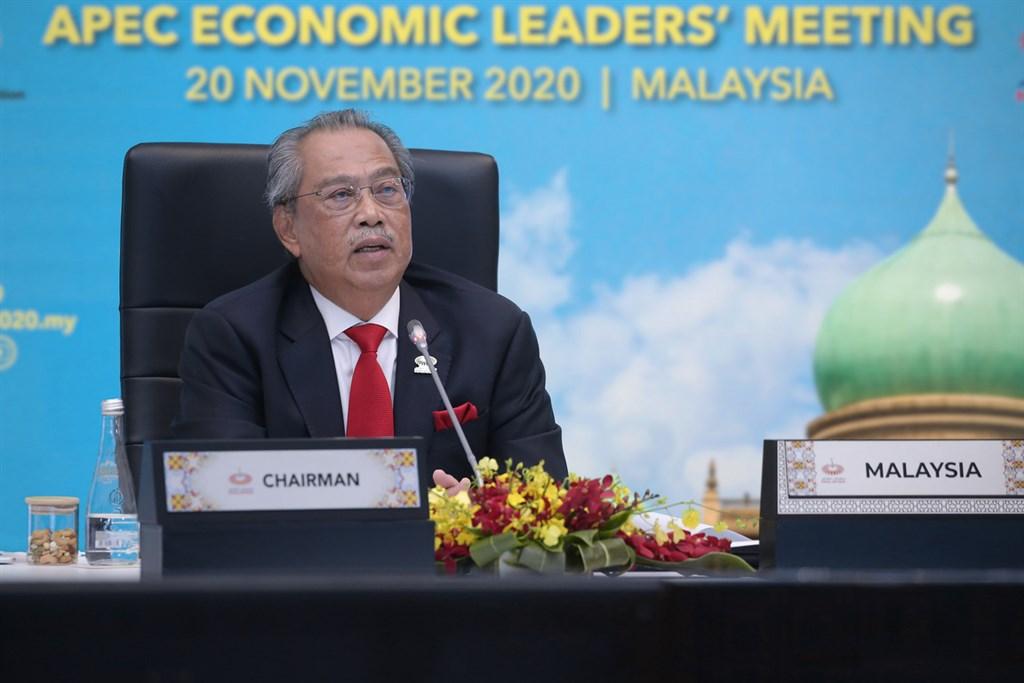 APEC領袖峰會20日晚間首度以視訊方式進行,會議由主辦國馬來西亞首相慕尤丁(Muhyiddin Yassin)主持。(APEC2020提供)中央社記者侯姿瑩新加坡傳真 109年11月20日