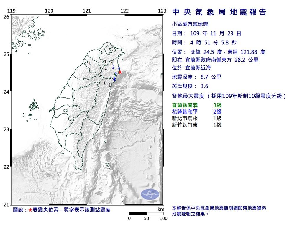 宜蘭縣近海23日凌晨4時51分發生芮氏規模3.6地震。(圖取自中央氣象局網頁cwb.gov.tw)