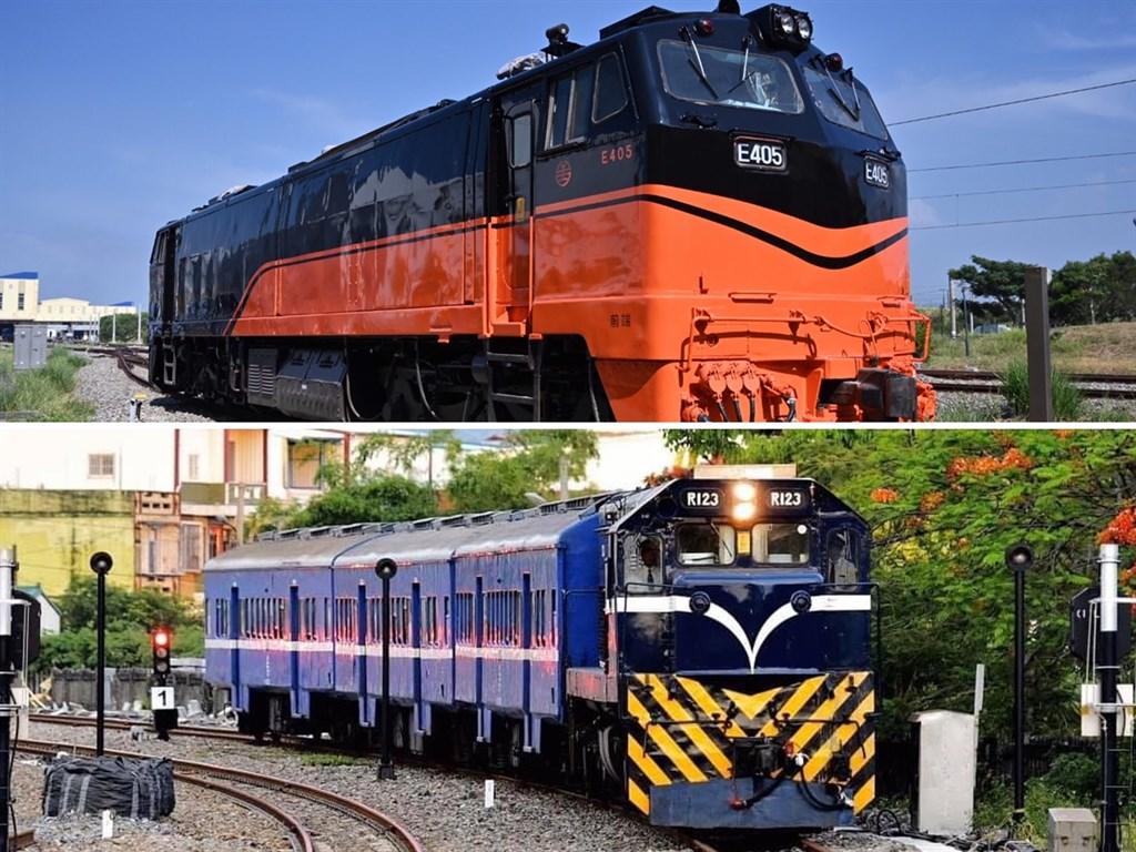 交通部打造觀光車隊,從高端至平價共有5種車型,包括提供高端餐飲的「鳴日號」(上)與提供平價輕行的「藍皮解憂號」(下)。(圖取自facebook.com/railway.gov.tw)