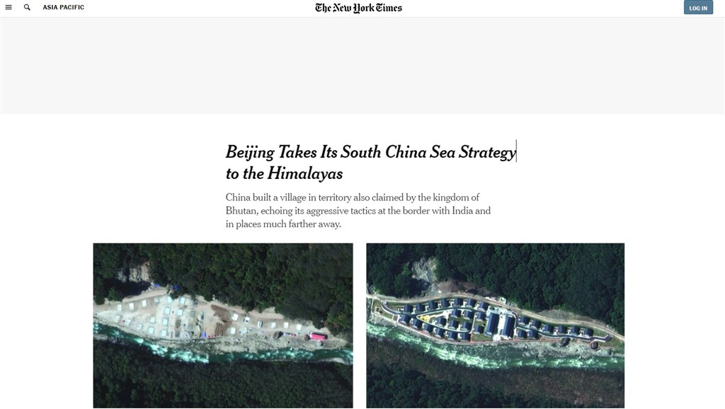 紐約時報報導,中國在今年10月1日國慶前夕,於喜馬拉雅山主權爭議地區完成一座村莊的興建工作。此舉為中國「南海戰略」的延續,以片面方式鞏固自身在領土爭議中的立場。(圖取自紐約時報網頁nytimes.com)