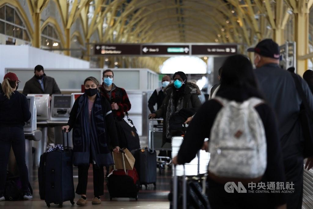 美國約翰霍普金斯大學1日表示,24小時內,記錄到全國超過2500人病故,是4月底以來最多。圖為美國華盛頓雷根國家機場旅客。(中央社檔案照片)