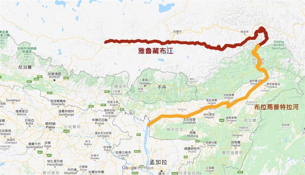 中國確定將在雅魯藏布江興建水電廠後,印度官1日表示,印度考慮在下游的布拉馬普特拉河推動一項10GW(GW為10億瓦)的水電計畫。(圖取自Google地圖網頁google.com.tw/maps)