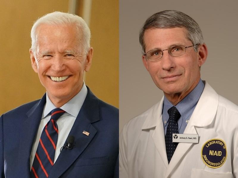 美國總統當選人拜登(左)3日表示,他已邀請首席傳染病專家佛奇(右)繼續留任現職,並表示上任第一天就會要求美國民眾戴口罩100天。(左圖取自facebook.com/joebiden;右圖取自維基共享資源,作者NIAID,CC BY 2.0)