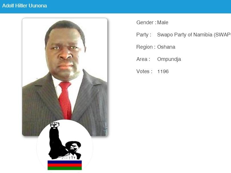 納米比亞市議員當選人阿多夫.希特勒.尤沃納(圖)一夕爆紅,因為他與二戰納粹首腦希特勒同名。(圖取自納米比亞選舉網頁elections.na)