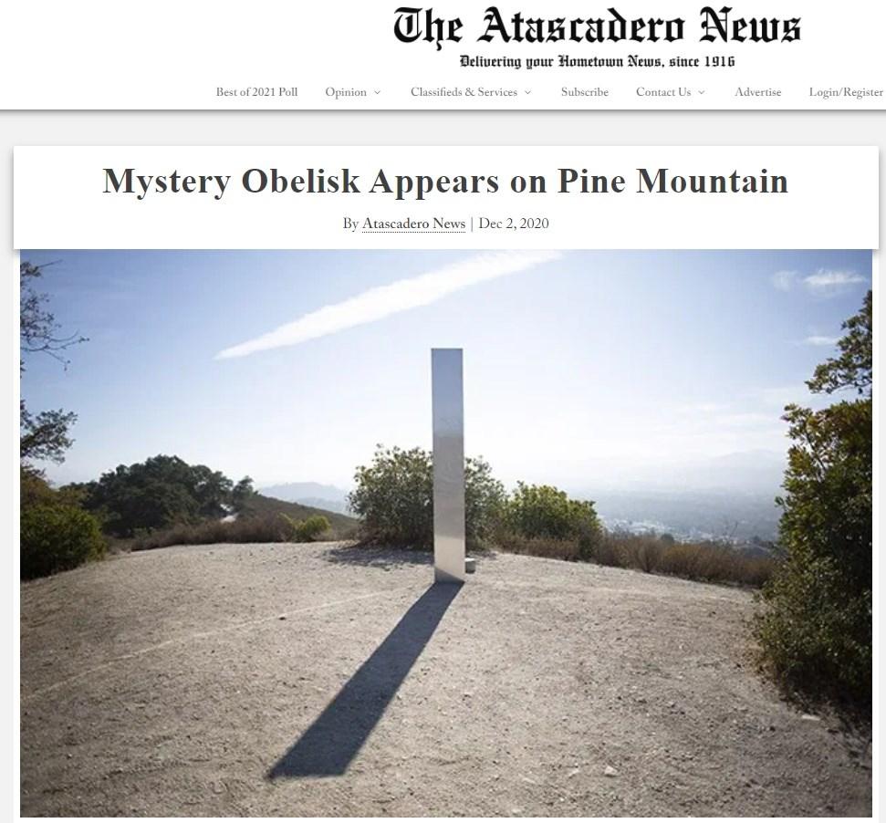 一根3公尺高的金屬柱體本週神秘地出現在加州中部一座山頂上,然後突然在3日清晨消失。(圖取自阿塔斯卡德羅新聞網頁atascaderonews.com)