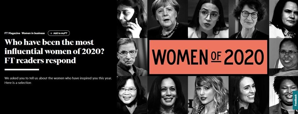 英國「金融時報」讀者評選出2020年全世界最具影響力的12名女性,總統蔡英文(下排左1)、紐西蘭總理阿爾登(下排右2)等人上榜。(圖取自金融時報網頁ft.com)