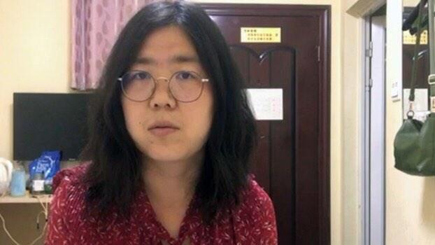 中國公民記者張展因為報導武漢疫情被控「尋釁滋事」,28日被法院判4年有期徒刑。(圖取自維權網網頁wqw2010.blogspot.com)