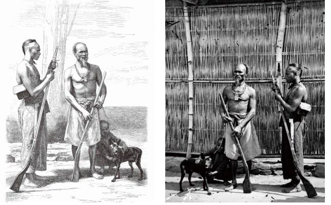右邊為湯姆生拍的「木柵獵人」,左邊為印製在書上的版畫。(翻攝自順益原住民博物館舉辦的「約和湯姆生1871台灣早期攝影展」)