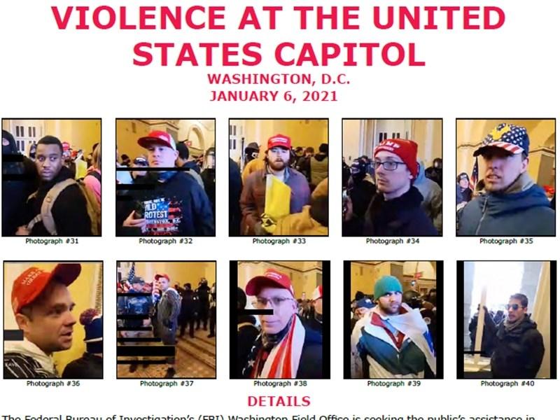 美國總統川普的支持者6日攻占國會大廈震撼全球,聯邦調查局(FBI)要求民眾協助指認滋事者。(圖取自美國聯邦調查局網頁fbi.gov)