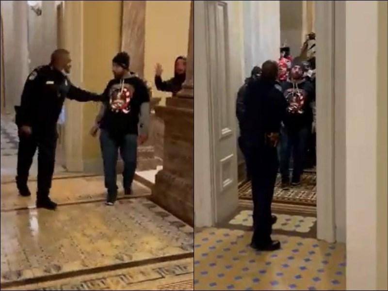 美國總統川普的忠實支持者6日硬闖國會大廈,網路上流傳一段影片,顯示一名非裔警察古德曼機警地將憤怒群眾引離參議院。(圖取自twitter.com/igorbobic)