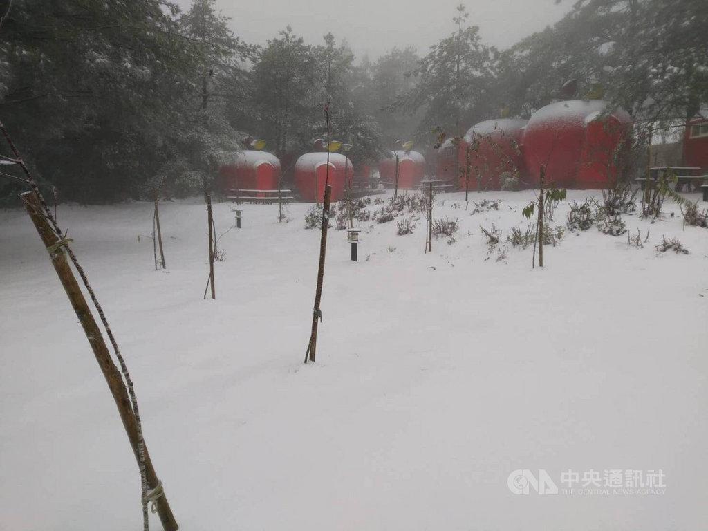 台中市和平區的福壽山農場12日凌晨再度降雪,露營區的蘋果帳篷被白雪覆蓋,好像被灑了糖霜。(福壽山農場提供)中央社記者趙麗妍傳真 110年1月12日