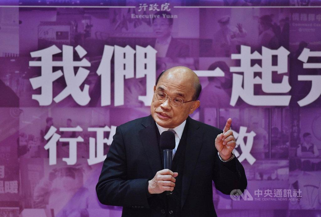 行政院長蘇貞昌14日就任滿2週年,下午與媒體進行茶敘時強調,內閣目前沒有改組打算,懸缺的行政院發言人會等確定後對外報告。中央社記者王飛華攝  110年1月14日