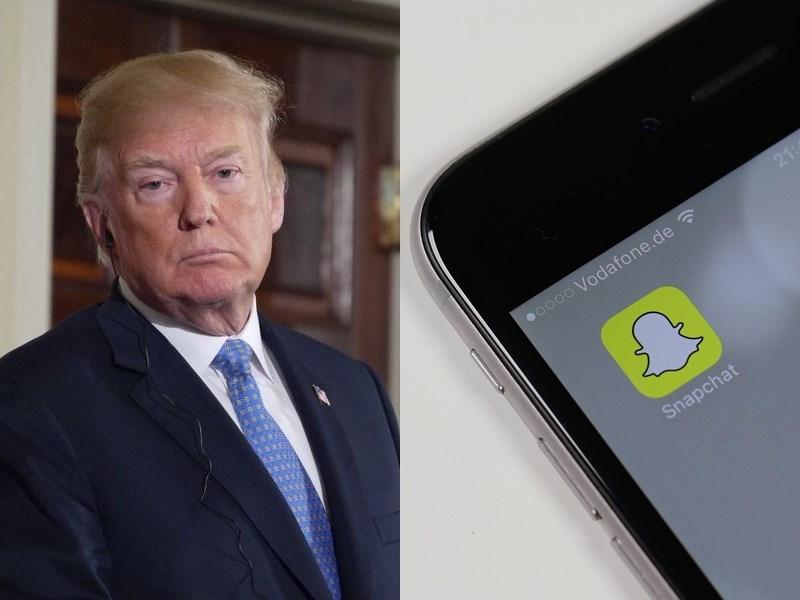 社群媒體公司Snap發言人13日在聲明表示,將對美國總統川普(左)的Snapchat帳號永久停權。(左圖為中央社檔案照片,右圖取自Pixabay圖庫)