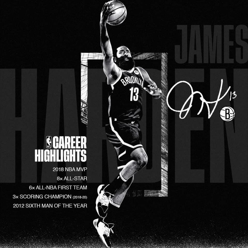 布魯克林籃網14日正式確認哈登入隊。(圖取自facebook.com/BrooklynNets)