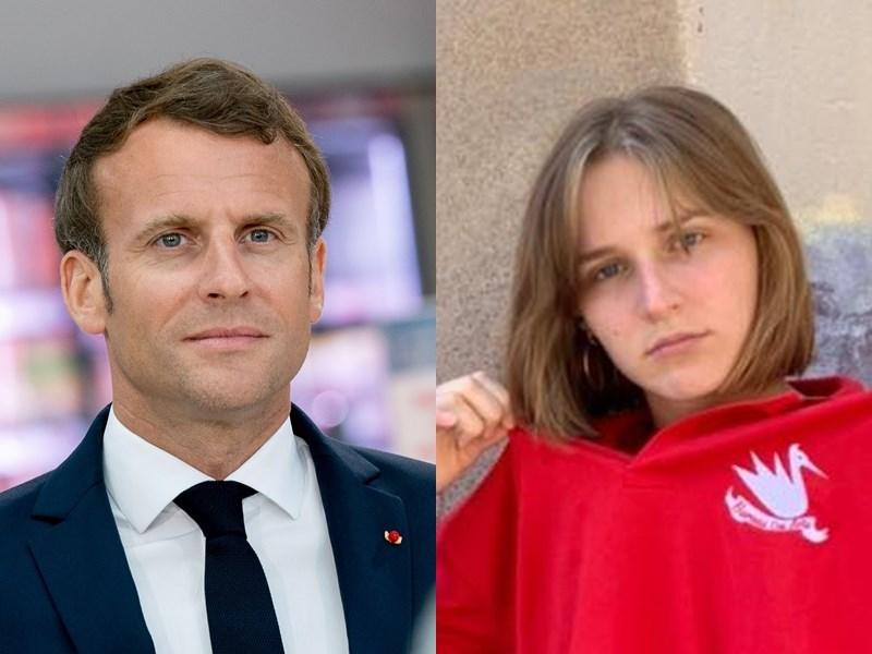一名19歲的政治學院學生蘇波(右)寫信告訴法國總統馬克宏(左),疫情使她對人生的未來不再抱有夢想,如同槁木死灰。(左圖取自facebook.com/EmmanuelMacron、右圖取自facebook.com/100004663757391)