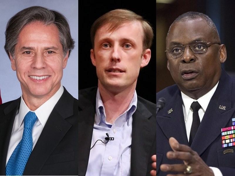 美國總統當選人拜登提名的內閣官員有許多有色族裔,反映美國多元價值的特色。圖左起為國務卿布林肯、國安顧問蘇利文以及國防部長奧斯汀。(左圖取自維基共享資源,版權屬公有領域;中圖取自Asia Society Flickr網頁;作者Ellen Wallop,CC BY-NC-ND 2.0;右圖美聯社)